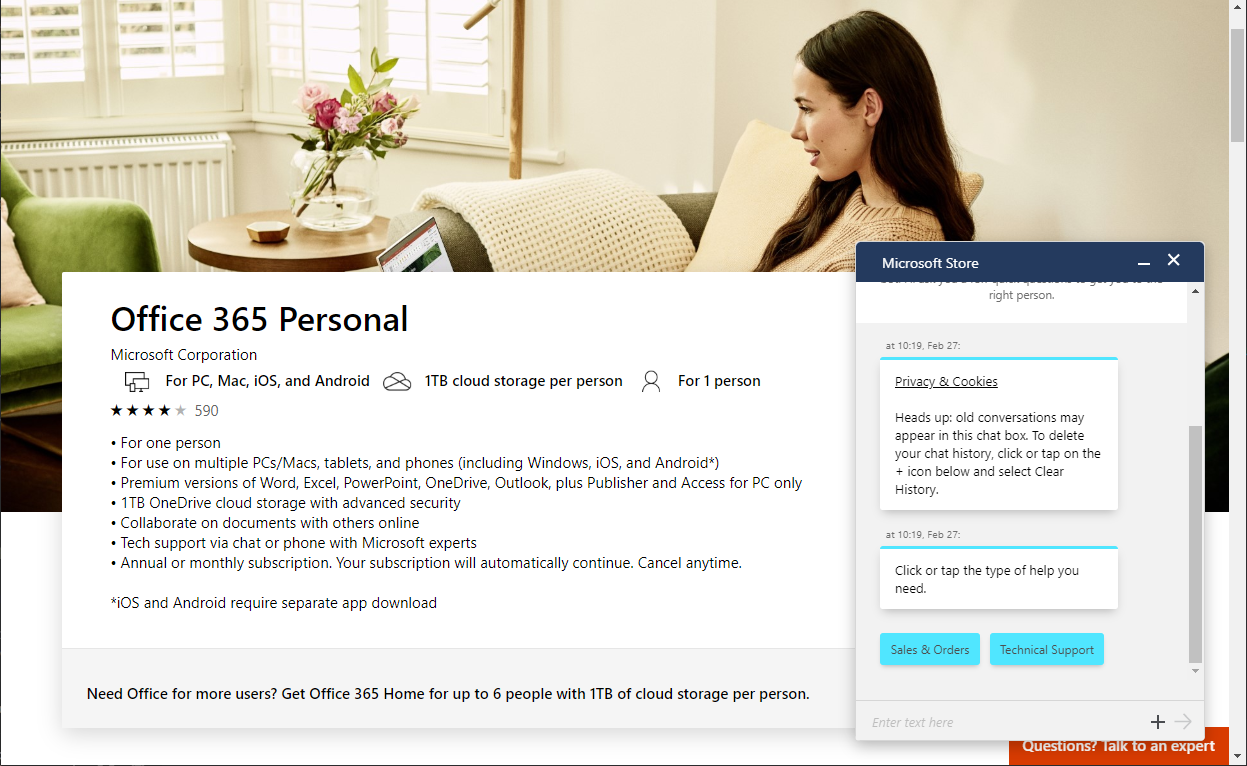 LivePerson chat on M365 website